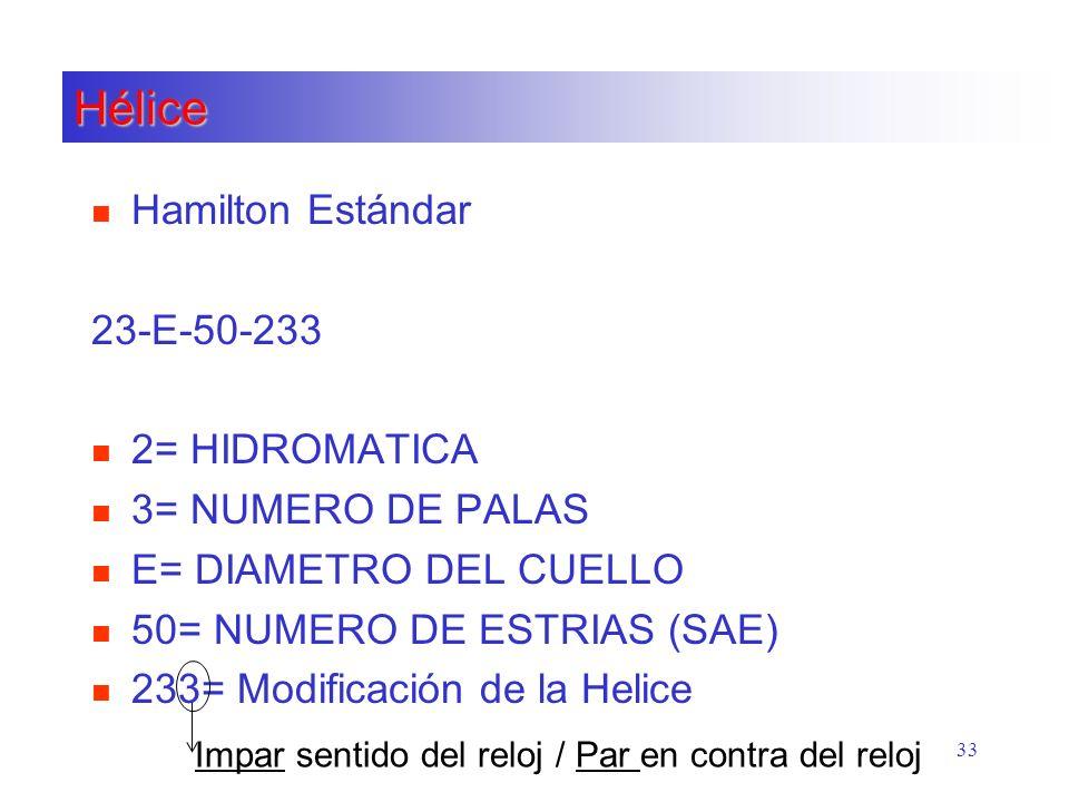 Hélice Hamilton Estándar 23-E-50-233 2= HIDROMATICA 3= NUMERO DE PALAS