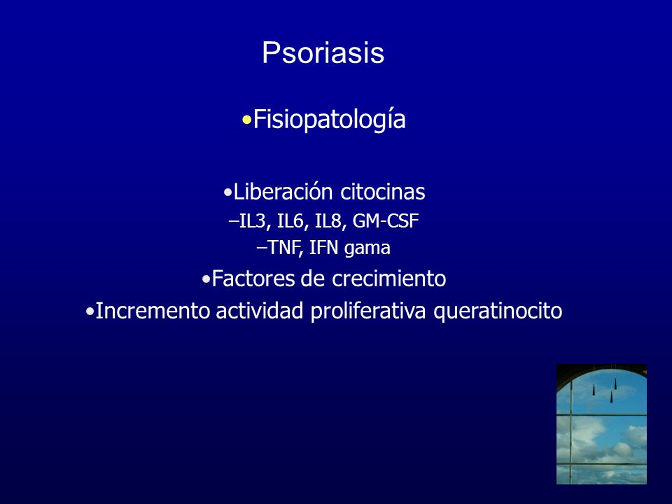 Psoriasis Fisiopatología Liberación citocinas Factores de crecimiento