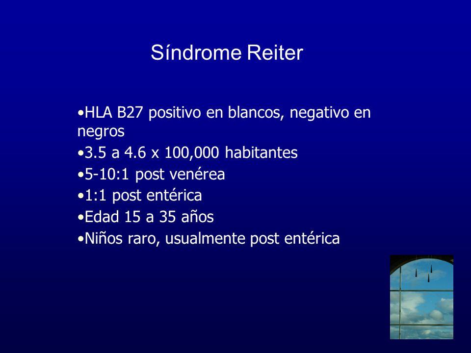 Síndrome Reiter HLA B27 positivo en blancos, negativo en negros