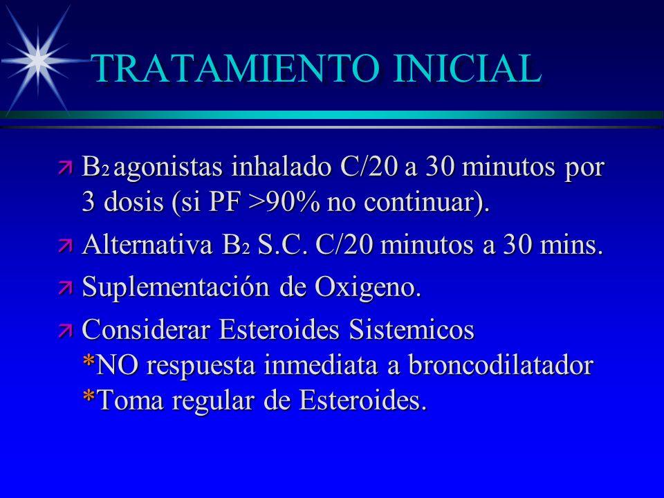 TRATAMIENTO INICIAL B2 agonistas inhalado C/20 a 30 minutos por 3 dosis (si PF >90% no continuar). Alternativa B2 S.C. C/20 minutos a 30 mins.