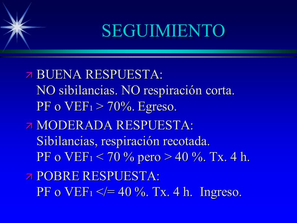 SEGUIMIENTO BUENA RESPUESTA: NO sibilancias. NO respiración corta. PF o VEF1 > 70%. Egreso.