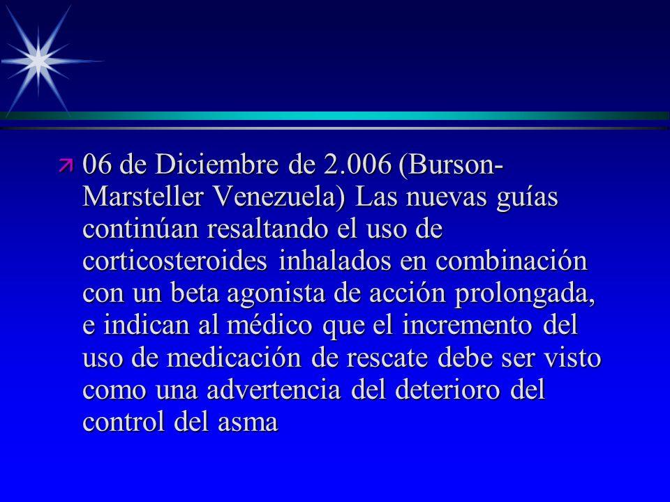 06 de Diciembre de 2.006 (Burson-Marsteller Venezuela) Las nuevas guías continúan resaltando el uso de corticosteroides inhalados en combinación con un beta agonista de acción prolongada, e indican al médico que el incremento del uso de medicación de rescate debe ser visto como una advertencia del deterioro del control del asma
