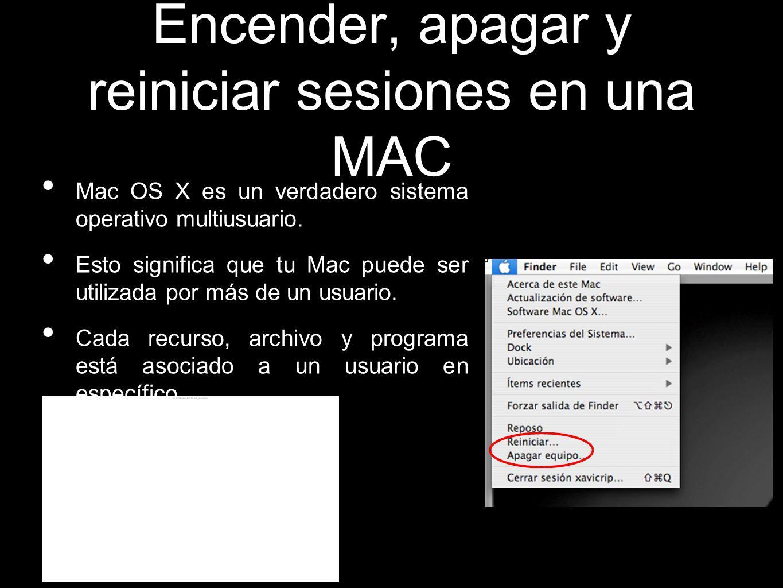 Encender, apagar y reiniciar sesiones en una MAC
