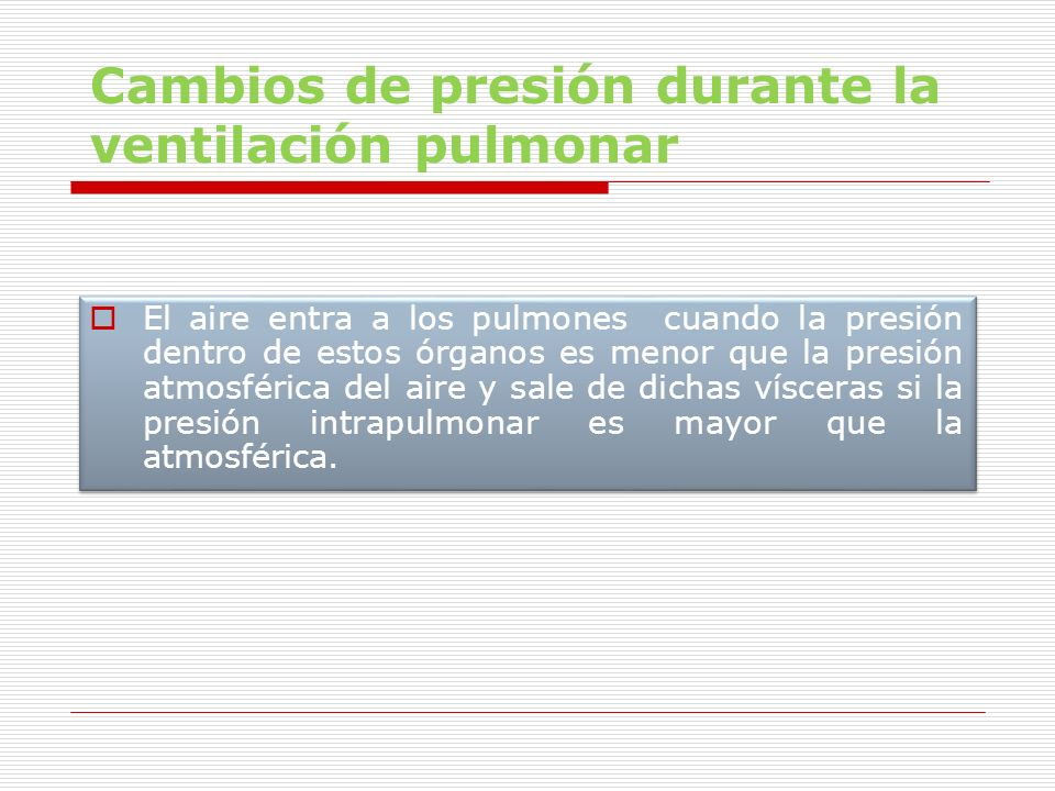 Cambios de presión durante la ventilación pulmonar