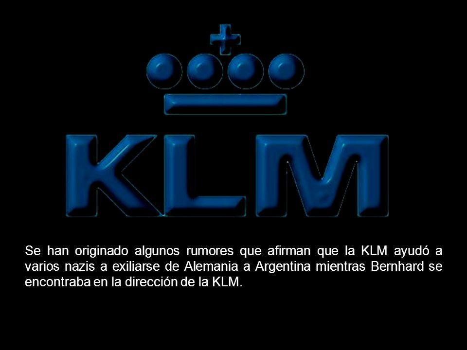 Se han originado algunos rumores que afirman que la KLM ayudó a varios nazis a exiliarse de Alemania a Argentina mientras Bernhard se encontraba en la dirección de la KLM.
