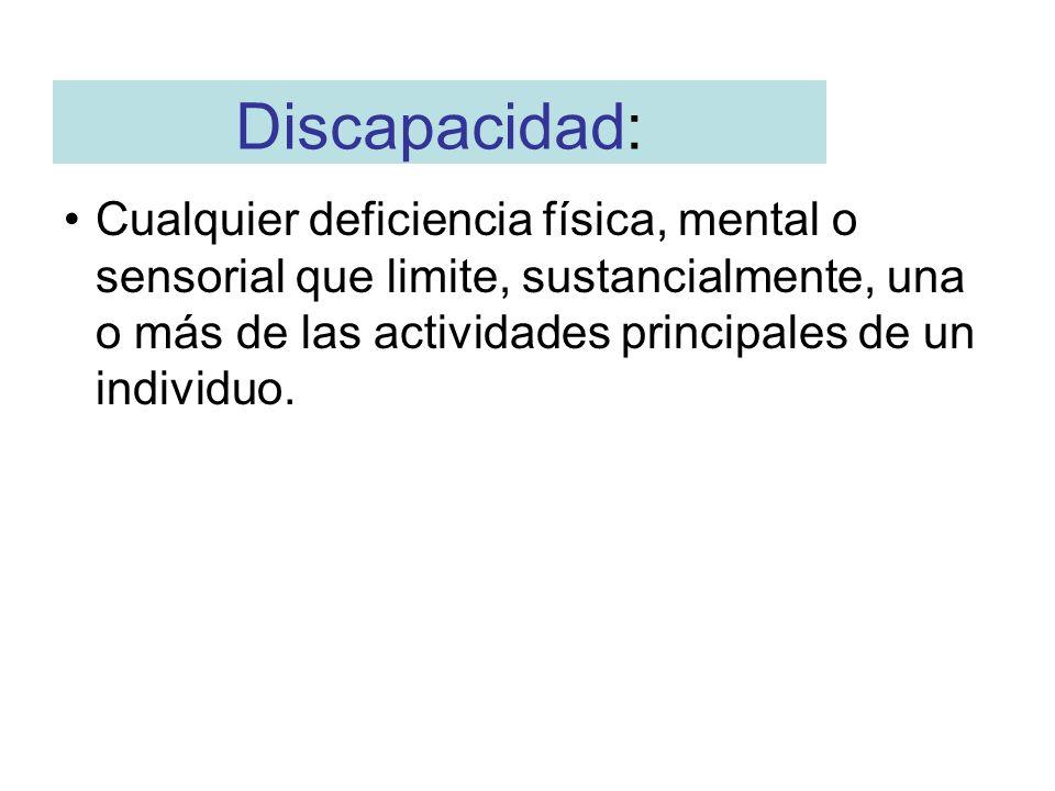 Discapacidad:Cualquier deficiencia física, mental o sensorial que limite, sustancialmente, una o más de las actividades principales de un individuo.