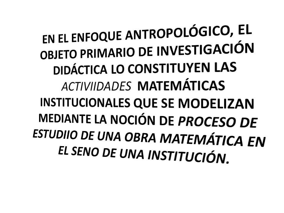 EN EL ENFOQUE ANTROPOLÓGICO, EL OBJETO PRIMARIO DE INVESTIGACIÓN DIDÁCTICA LO CONSTITUYEN LAS ACTIVIIDADES MATEMÁTICAS INSTITUCIONALES QUE SE MODELIZAN MEDIANTE LA NOCIÓN DE PROCESO DE ESTUDIIO DE UNA OBRA MATEMÁTICA EN EL SENO DE UNA INSTITUCIÓN.
