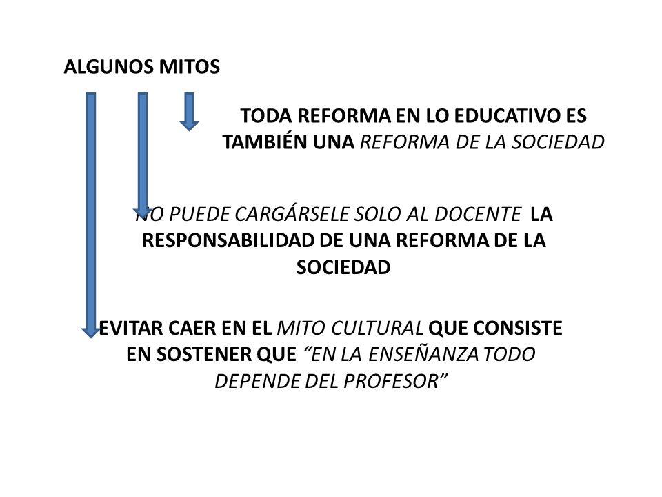 TODA REFORMA EN LO EDUCATIVO ES TAMBIÉN UNA REFORMA DE LA SOCIEDAD