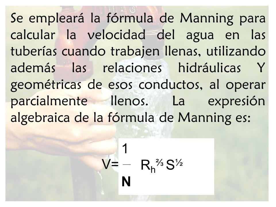 Se empleará la fórmula de Manning para calcular la velocidad del agua en las tuberías cuando trabajen llenas, utilizando además las relaciones hidráulicas Y geométricas de esos conductos, al operar parcialmente llenos. La expresión algebraica de la fórmula de Manning es: