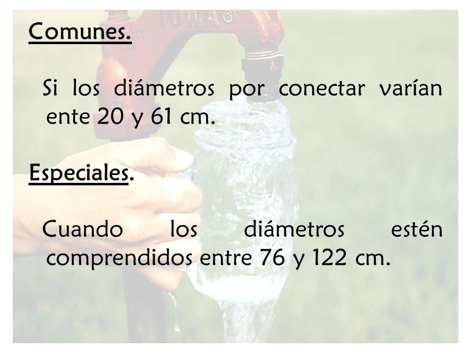 Comunes. Si los diámetros por conectar varían ente 20 y 61 cm.