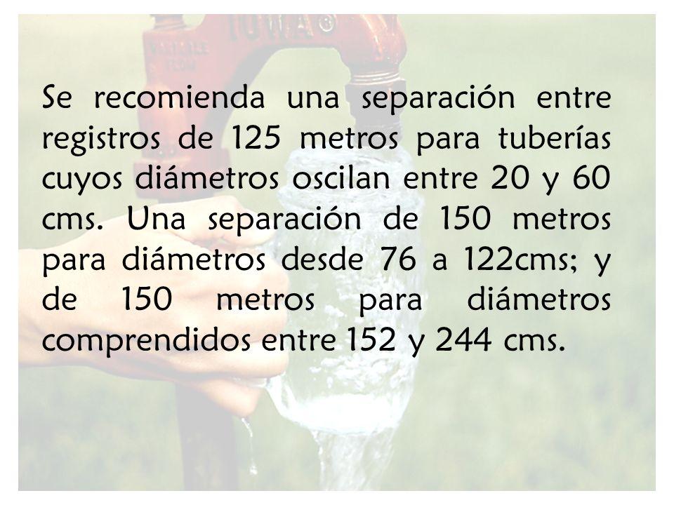 Se recomienda una separación entre registros de 125 metros para tuberías cuyos diámetros oscilan entre 20 y 60 cms.