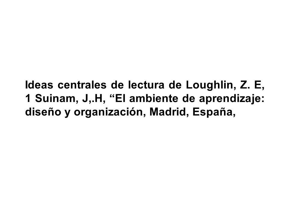Ideas centrales de lectura de Loughlin, Z. E, 1 Suinam, J,