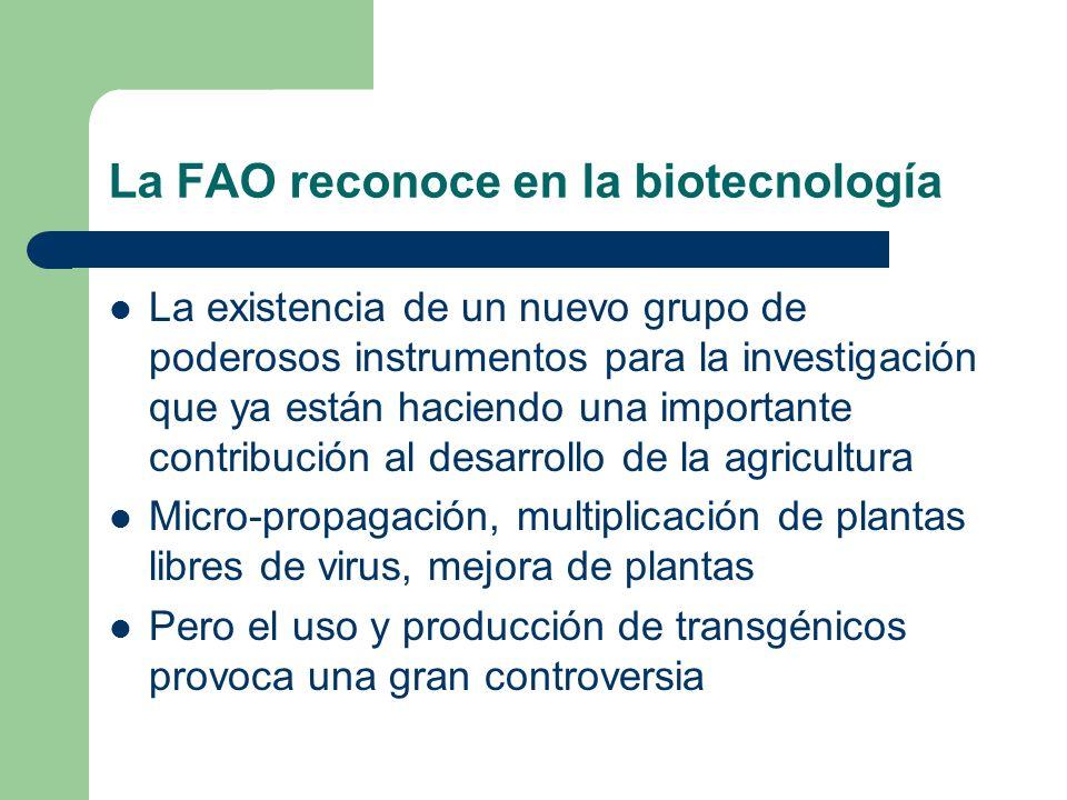 La FAO reconoce en la biotecnología