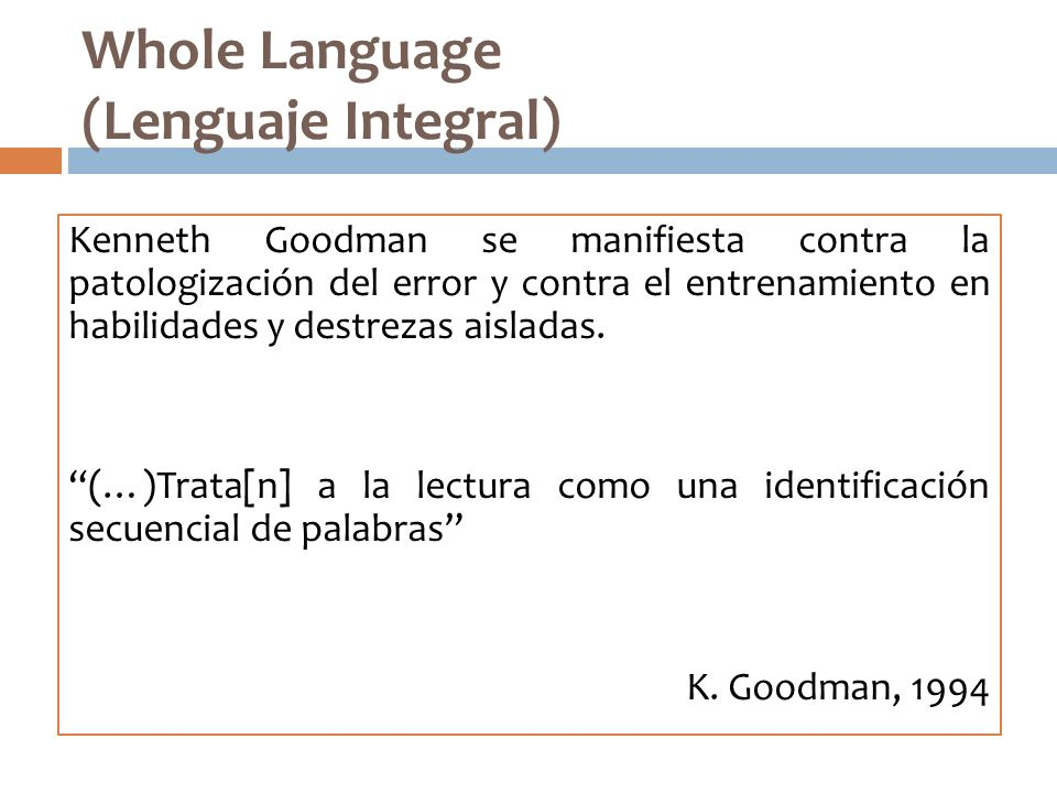 Whole Language (Lenguaje Integral)