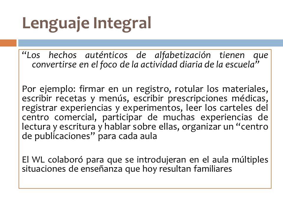 Lenguaje Integral Los hechos auténticos de alfabetización tienen que convertirse en el foco de la actividad diaria de la escuela