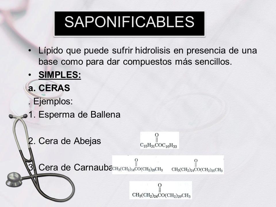 SAPONIFICABLESLípido que puede sufrir hidrolisis en presencia de una base como para dar compuestos más sencillos.