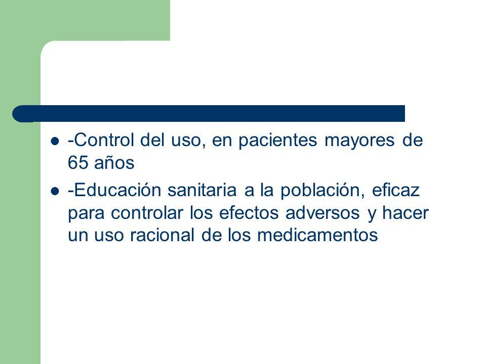 -Control del uso, en pacientes mayores de 65 años