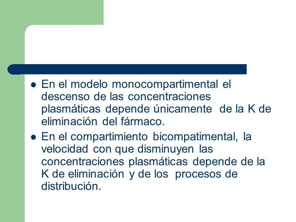 En el modelo monocompartimental el descenso de las concentraciones plasmáticas depende únicamente de la K de eliminación del fármaco.
