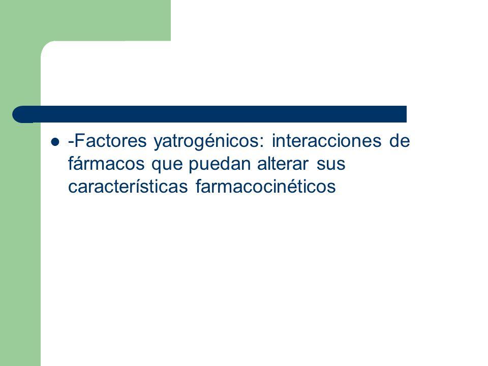 -Factores yatrogénicos: interacciones de fármacos que puedan alterar sus características farmacocinéticos