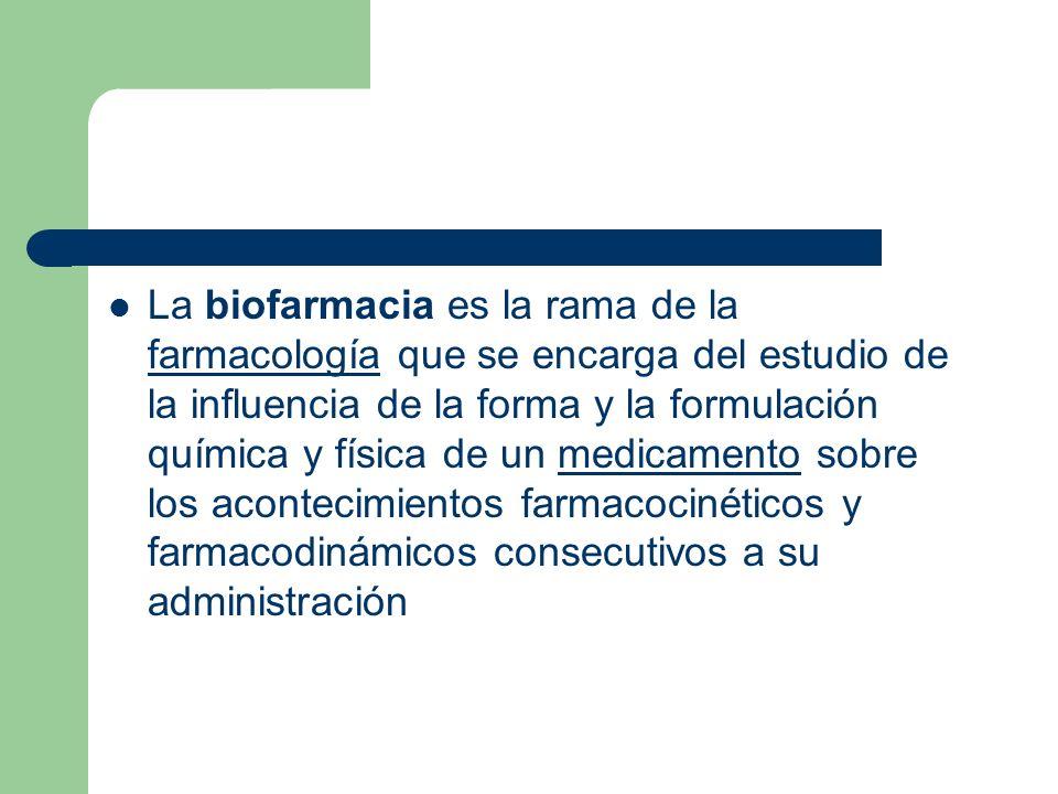 La biofarmacia es la rama de la farmacología que se encarga del estudio de la influencia de la forma y la formulación química y física de un medicamento sobre los acontecimientos farmacocinéticos y farmacodinámicos consecutivos a su administración