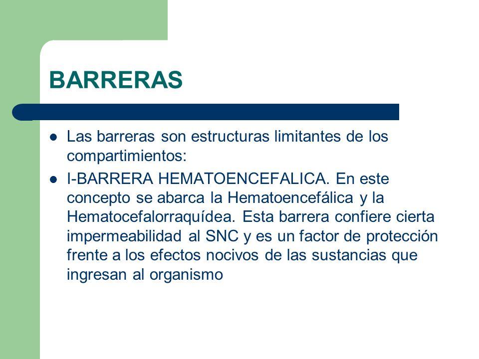 BARRERAS Las barreras son estructuras limitantes de los compartimientos: