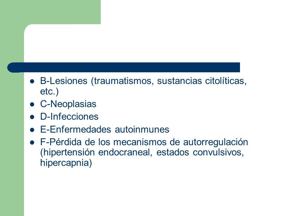 B-Lesiones (traumatismos, sustancias citolíticas, etc.)