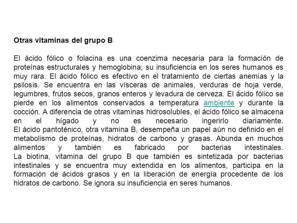 Otras vitaminas del grupo B