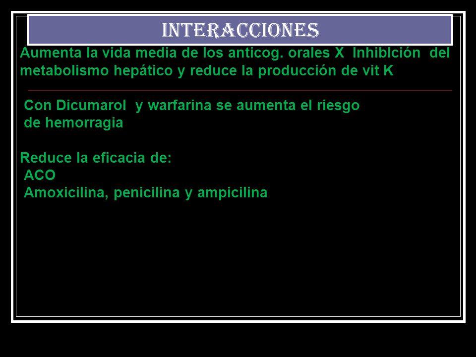 INTERACCIONES Aumenta la vida media de los anticog. orales X InhibIción del. metabolismo hepático y reduce la producción de vit K.