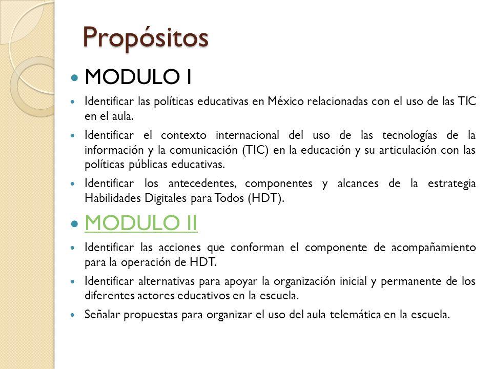 Propósitos MODULO I MODULO II