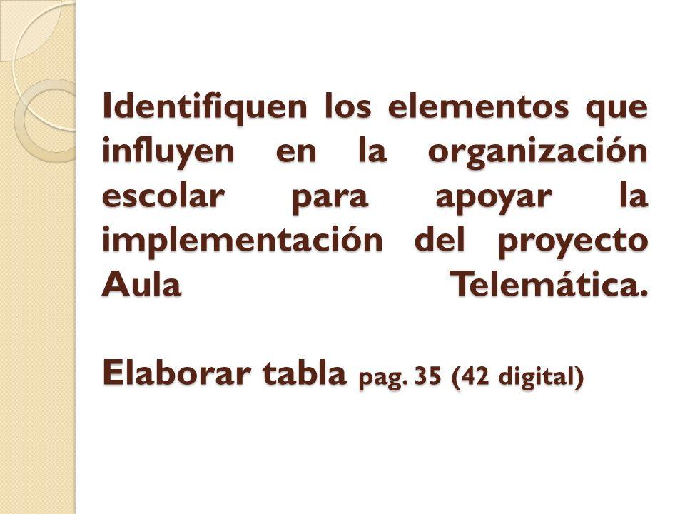 Identifiquen los elementos que influyen en la organización escolar para apoyar la implementación del proyecto Aula Telemática.