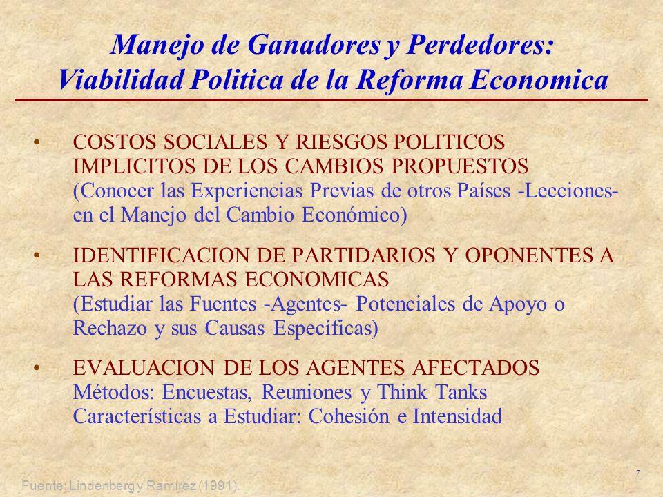 Manejo de Ganadores y Perdedores: Viabilidad Politica de la Reforma Economica