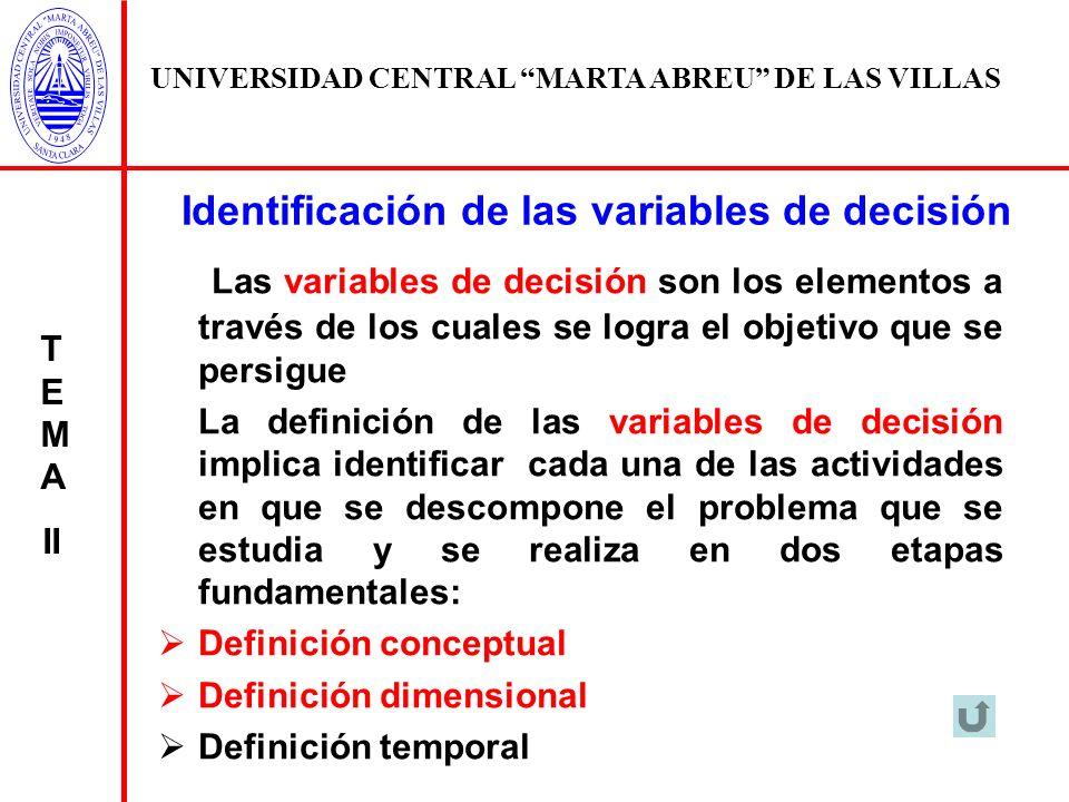 Identificación de las variables de decisión