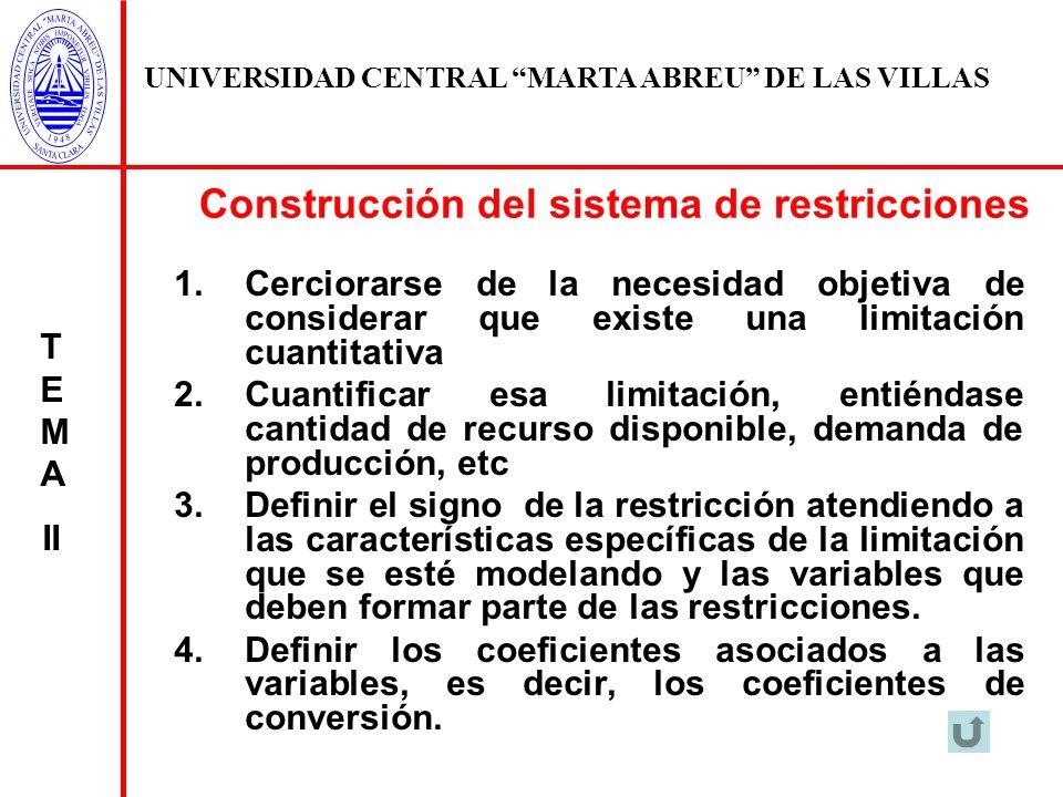 Construcción del sistema de restricciones