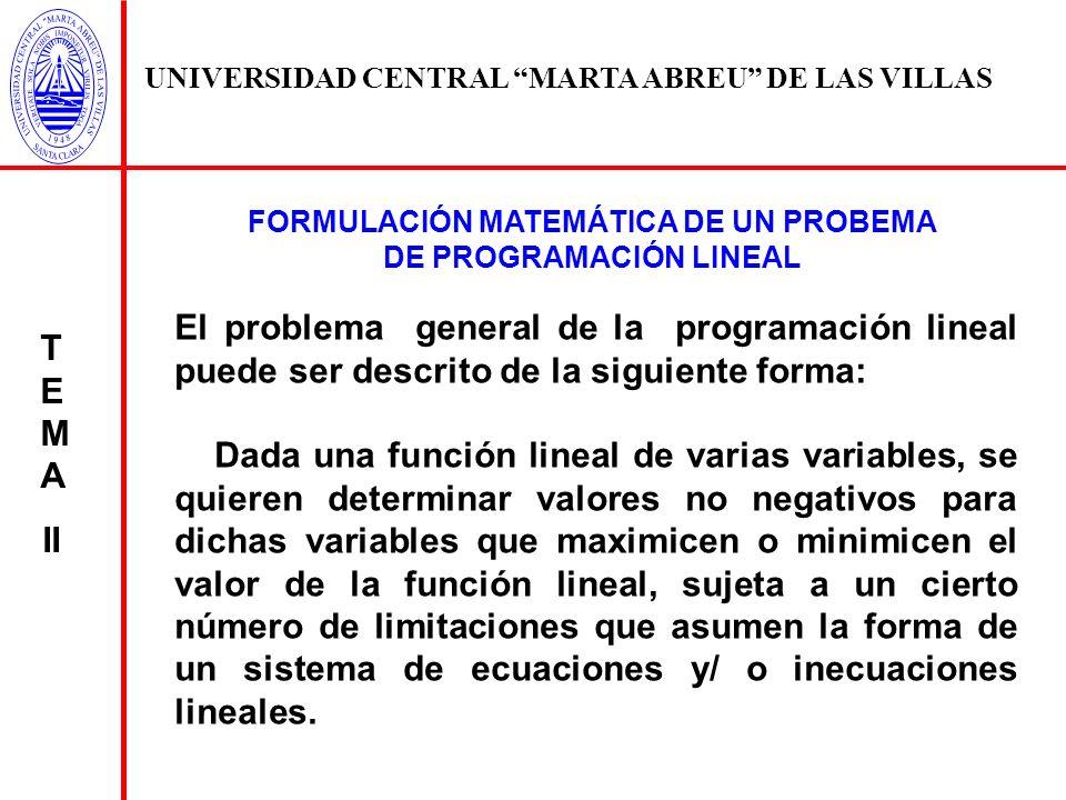FORMULACIÓN MATEMÁTICA DE UN PROBEMA DE PROGRAMACIÓN LINEAL