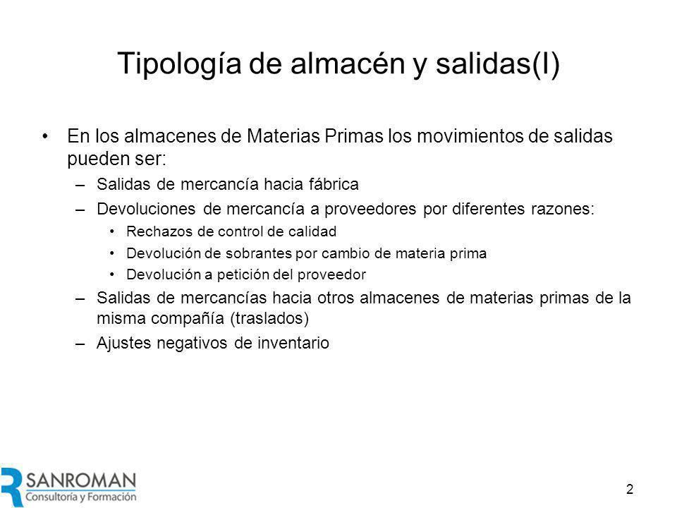 Tipología de almacén y salidas (II)