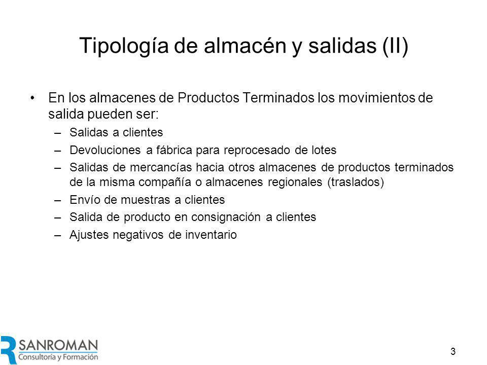 Tipología de almacén y salidas (III)