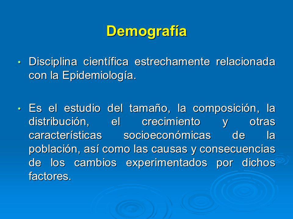 Demografía Disciplina científica estrechamente relacionada con la Epidemiología.