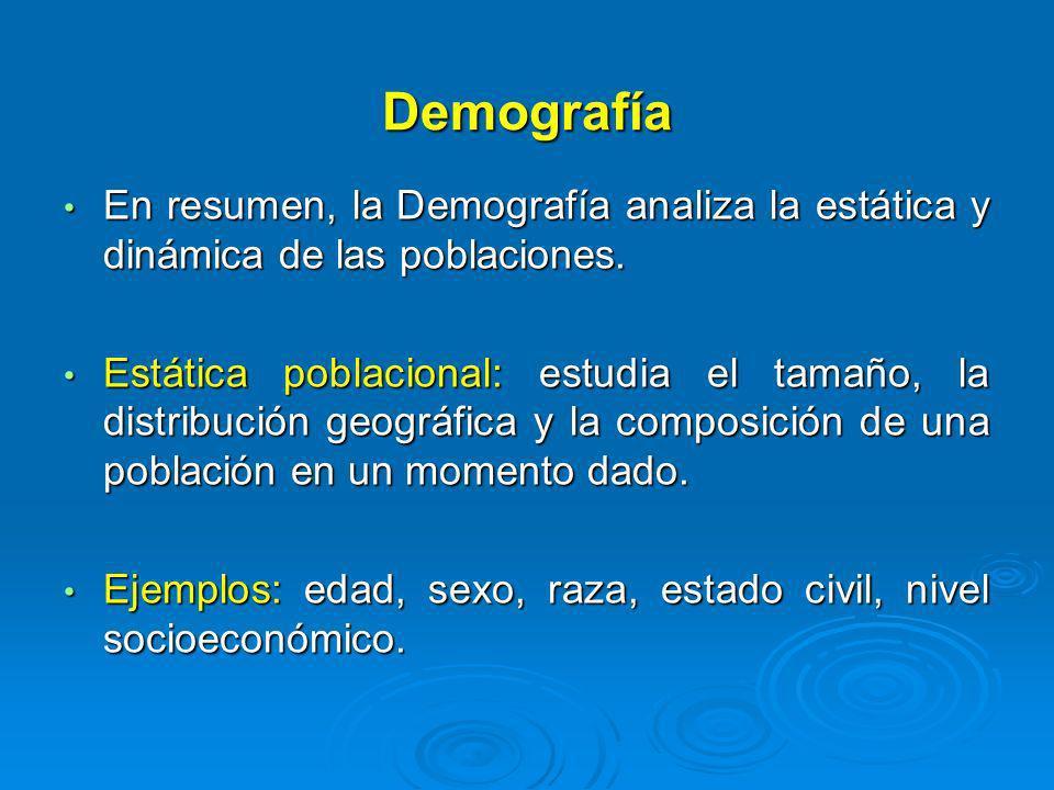 Demografía En resumen, la Demografía analiza la estática y dinámica de las poblaciones.