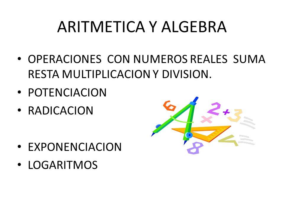 ARITMETICA Y ALGEBRAOPERACIONES CON NUMEROS REALES SUMA RESTA MULTIPLICACION Y DIVISION. POTENCIACION.