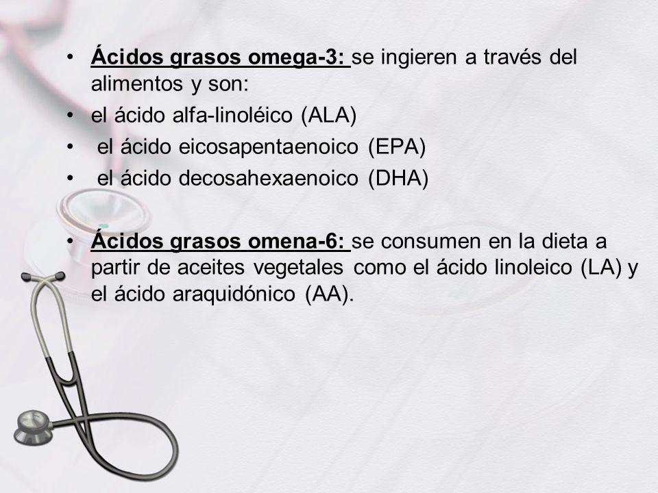 Ácidos grasos omega-3: se ingieren a través del alimentos y son: