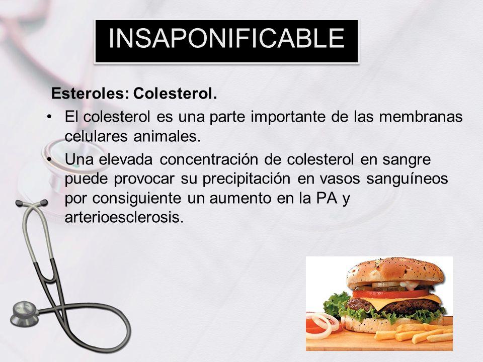 INSAPONIFICABLE Esteroles: Colesterol.