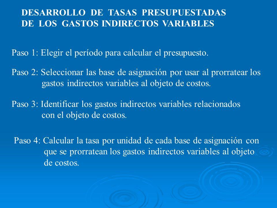 DESARROLLO DE TASAS PRESUPUESTADAS