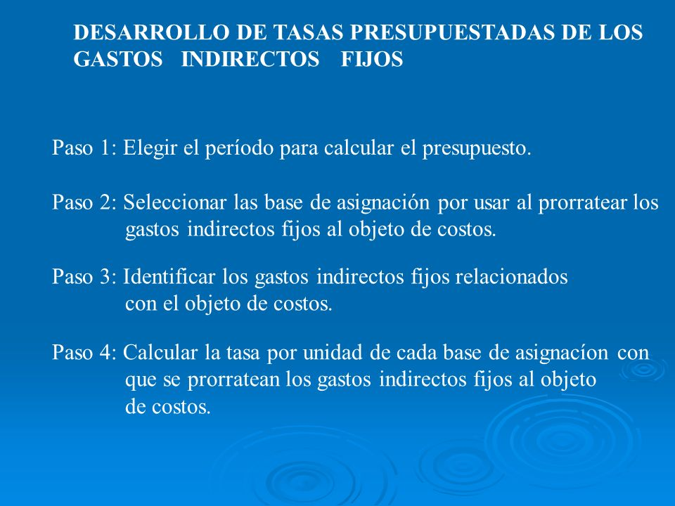 DESARROLLO DE TASAS PRESUPUESTADAS DE LOS