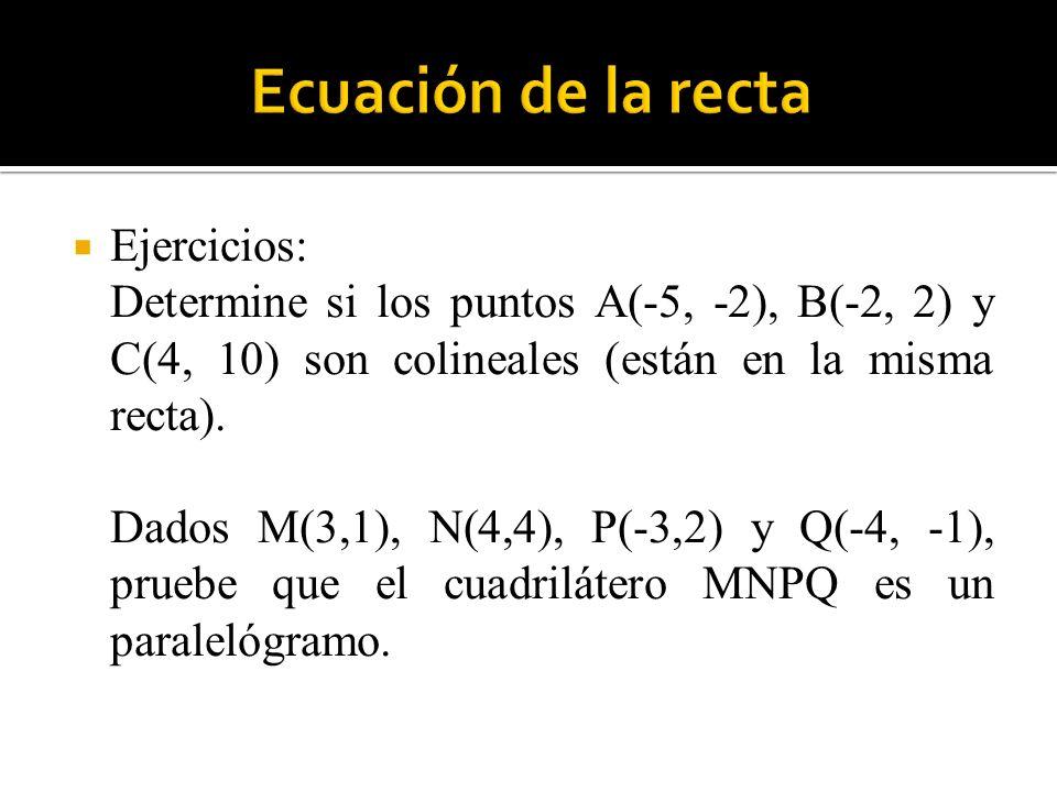 Ecuación de la recta Ejercicios: