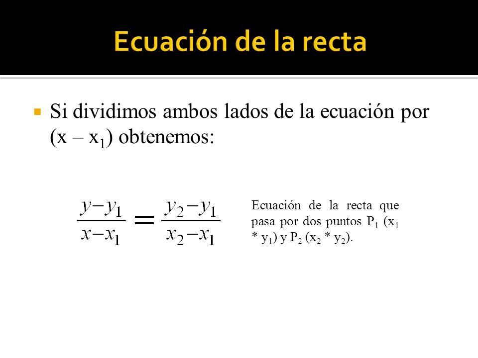 Ecuación de la recta Si dividimos ambos lados de la ecuación por (x – x1) obtenemos: