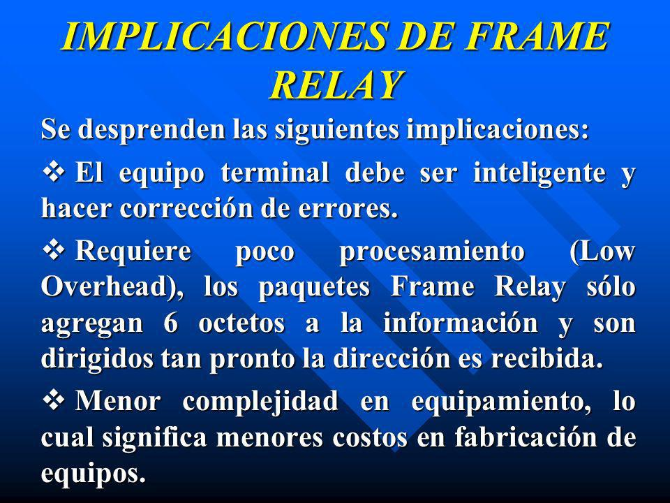 IMPLICACIONES DE FRAME RELAY
