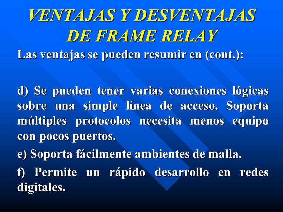 VENTAJAS Y DESVENTAJAS DE FRAME RELAY