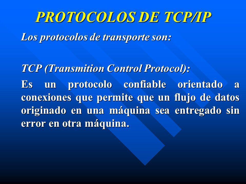 PROTOCOLOS DE TCP/IP Los protocolos de transporte son: