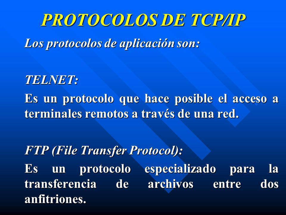 PROTOCOLOS DE TCP/IP Los protocolos de aplicación son: TELNET: