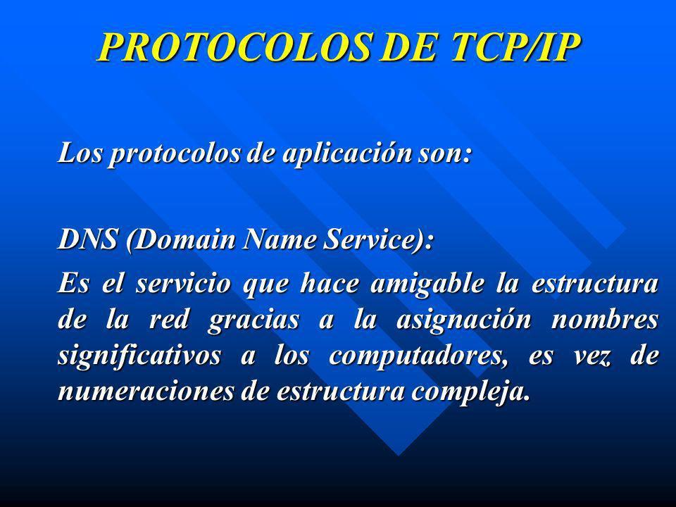 PROTOCOLOS DE TCP/IP Los protocolos de aplicación son: